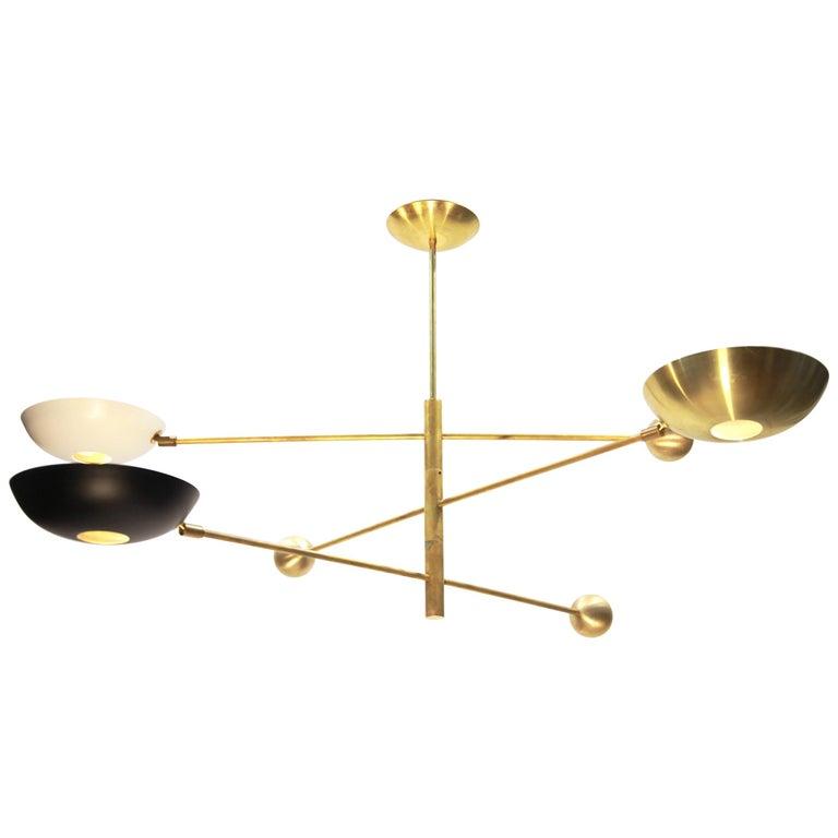 Orbitale Brass Chandelier 3 Rotating Balanced Arms, Stilnovo Style, Brass Shades For Sale