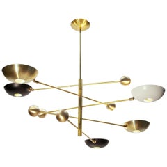 Orbitale Brass Chandelier 5 Rotating Balanced Arms, Stilnovo Style, Brass Shades