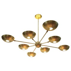 Orbitale Grand Planetario Brass Chandelier 8 Arms, Stilnovo Style, Brass Shades