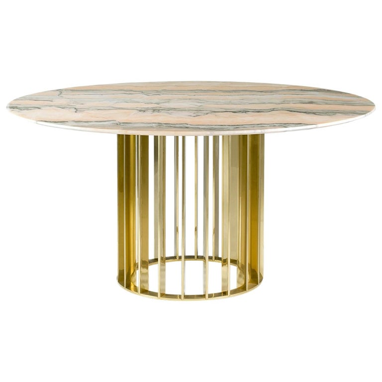 Orbiter, Contemporary Round Dining Table with Gold Base and Marble Top