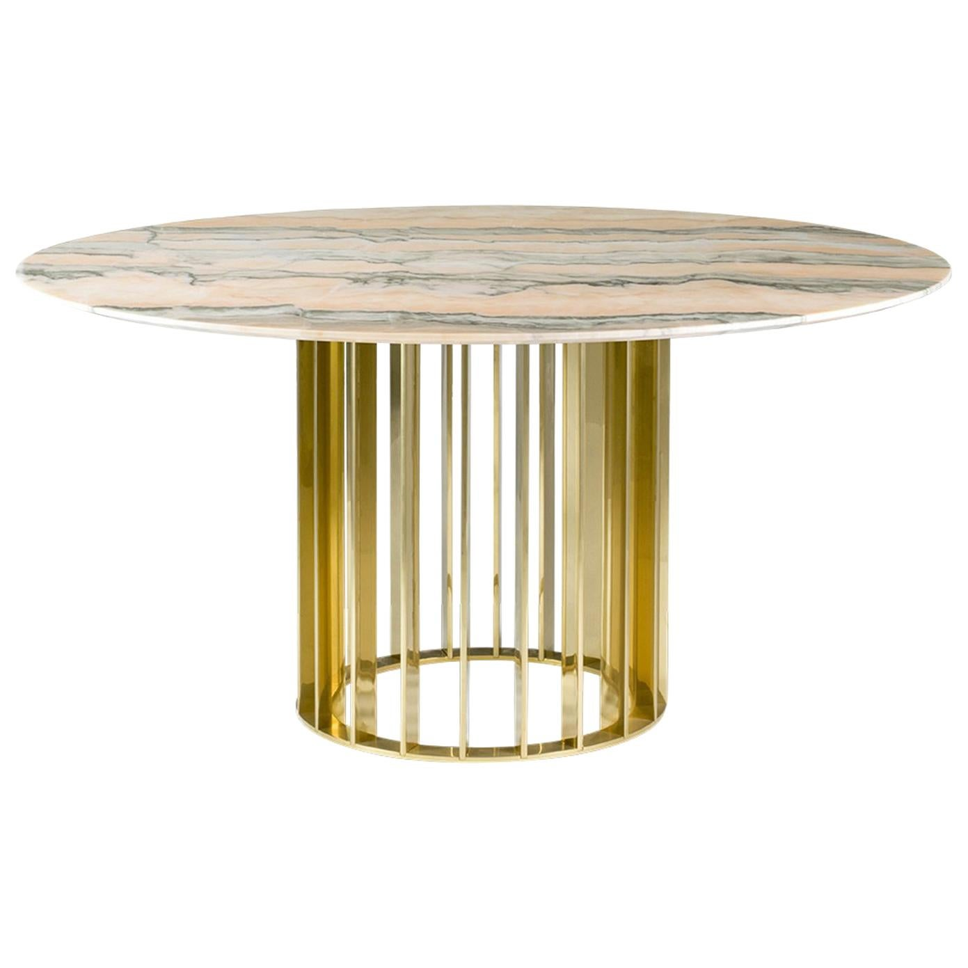 Beau Orbiter, Contemporary Round Dining Table With Gold Base And Marble Top