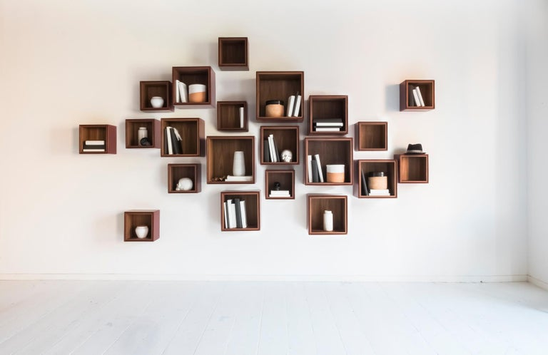 Modern Orchestra, Contemporary Leather and Wood Modular Shelving System For Sale