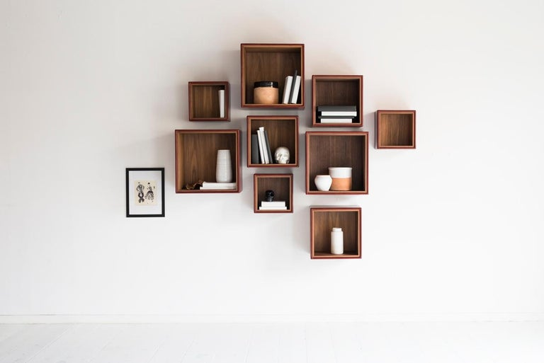 Italian Orchestra, Contemporary Leather and Wood Modular Shelving System For Sale