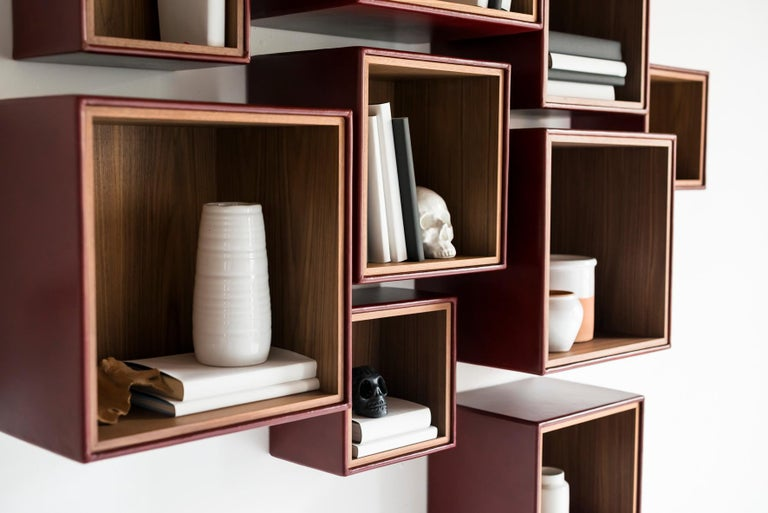 Orchestra, Contemporary Leather and Wood Modular Shelving System In Excellent Condition For Sale In Tradate, IT