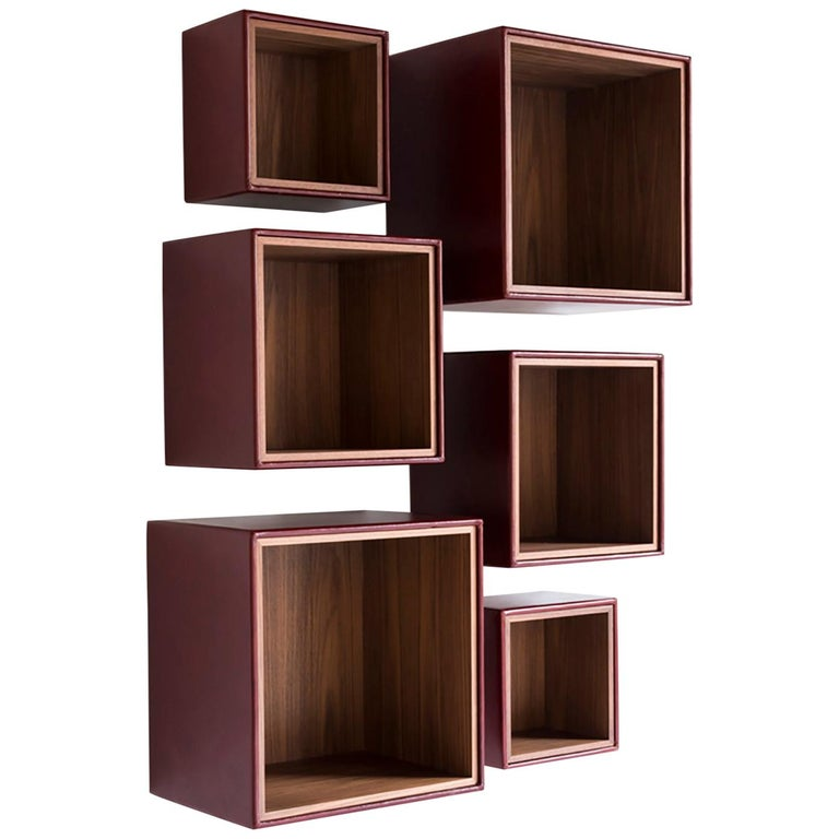 Orchestra Contemporary Leather And Wood Modular Shelving System For