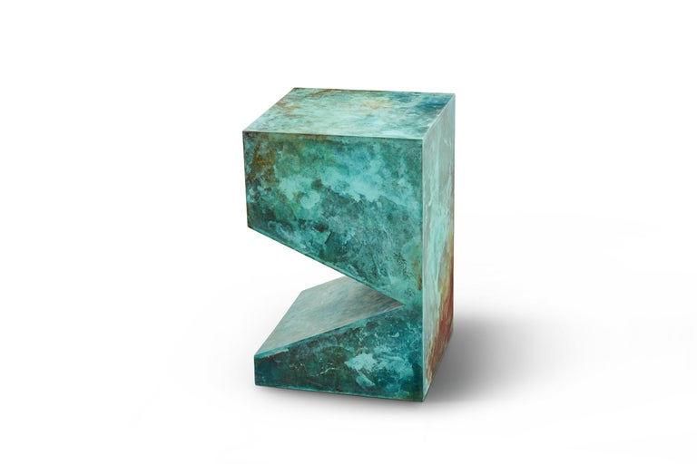 The colorful stool/side table is designed and made by artist Daishi Luo (Shanghai, China). It is fully customizable in size and color.   Spontaneous growth of copper is the latest series in Daishi's Bio-design programs. She uses a comprehensive