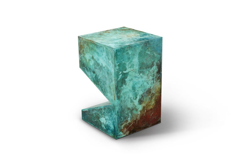 Chinese Orchestra No.2 Copper Square Multi-Color Texture Stool Side Table Customizable For Sale
