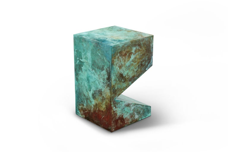 Orchestra No.2 Copper Square Multi-Color Texture Stool Side Table Customizable In New Condition For Sale In Los Angeles, CA