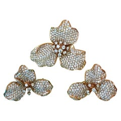 Orchid 18K Rose Gold Earrings with White and Fancy Diamonds, Unique Technique