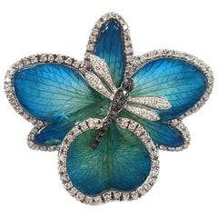 Orchid and Diamond Dragonfly Cocktail Ring in 18 Karat White Gold