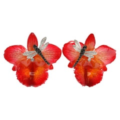 Orchid and Dragonfly Earrings with Cubic Zirconia in 925 White Silver