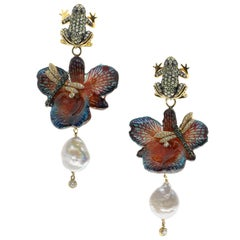 Orchid Flower Earrings with Cultured Pearls, Dragonflies and Frogs in 925 Silver