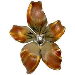 Orchid Flower Pendant OMC Diamond Enamel Charm 14K Gold Victorian Art Nouveau
