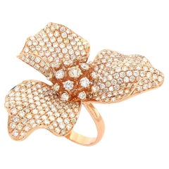 Orchid Garden Collection with 18K Gold Cocktail Love Ring with Diamonds Flawless