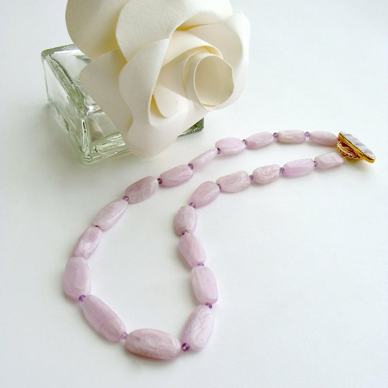 Tumbled Orchid Kunzite Nuggets Amethyst Choker Necklace Shell Inlay Toggle, Orianne V For Sale