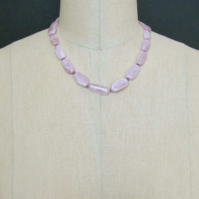 Women's Orchid Kunzite Nuggets Amethyst Choker Necklace Shell Inlay Toggle, Orianne V For Sale