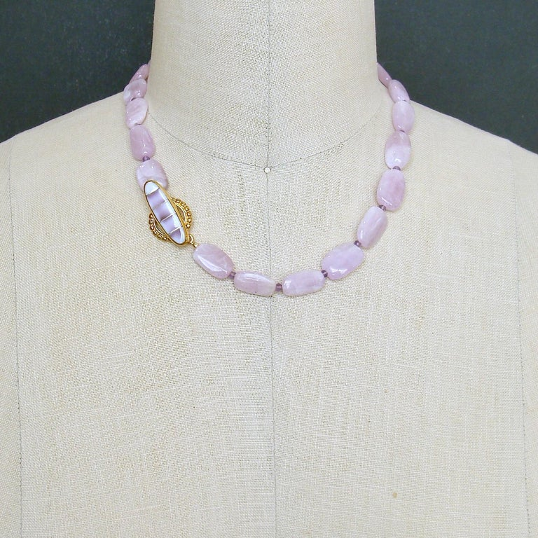 Orchid Kunzite Nuggets Amethyst Choker Necklace Shell Inlay Toggle, Orianne V For Sale 1