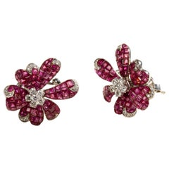 Orchid Ruby Flowers in 18 Karat Gold and Diamonds