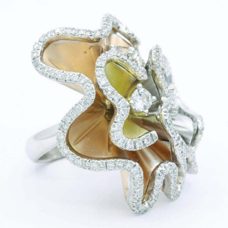 Modern Orchids Shape Flowers Ring with Diamonds and White Sapphires For Sale