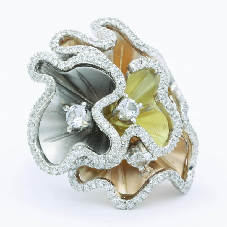 Round Cut Orchids Shape Flowers Ring with Diamonds and White Sapphires For Sale