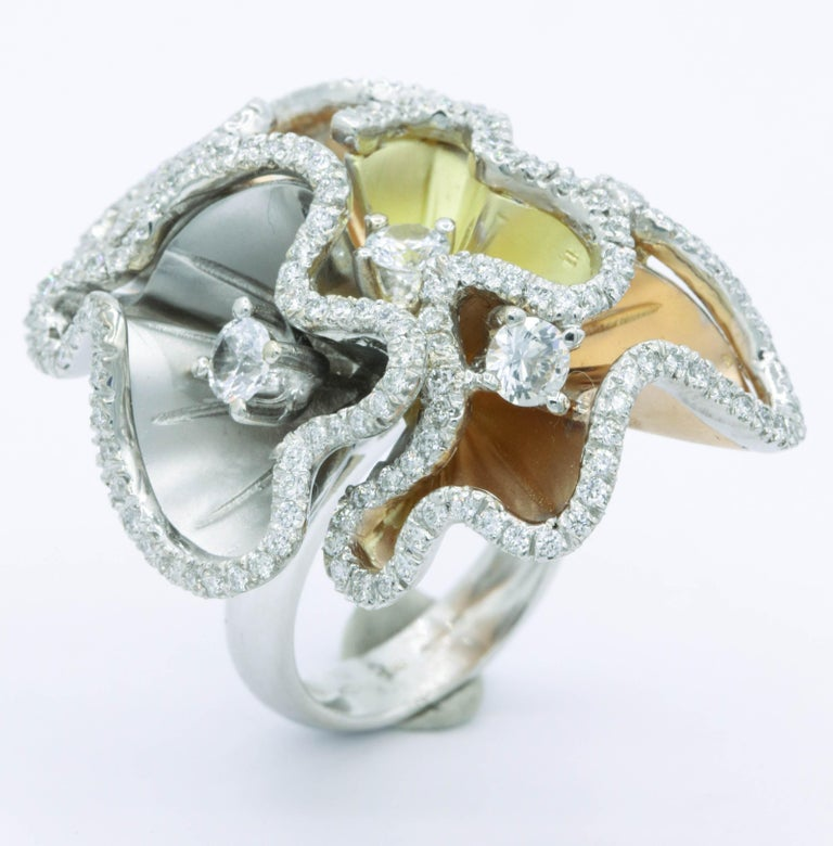 Women's Orchids Shape Flowers Ring with Diamonds and White Sapphires For Sale