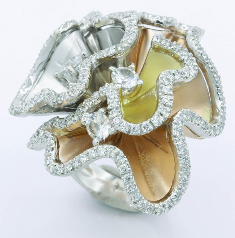 Orchids Shape Flowers Ring with Diamonds and White Sapphires For Sale 1