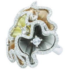 Orchids Shape Flowers Ring with Diamonds and White Sapphires