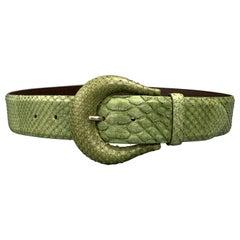 ORCIANI Green Snake Skin Leather Belt