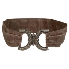 Orciani Taupe Leather Wide Belt Size 85