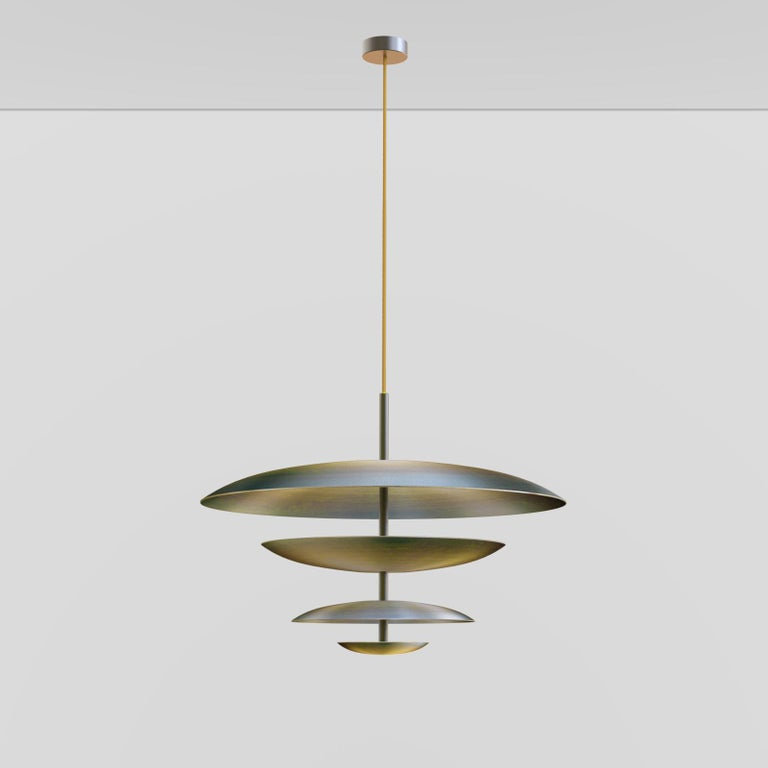 Ore Chandelier Patinated Brass Light, Ceiling Sculpture For Sale 2