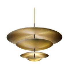 Ore Chandelier Patinated Brass Light, Ceiling Sculpture