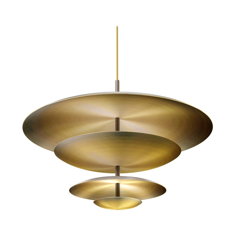 Ore Chandelier Patinated Brass Light, Ceiling Sculpture For Sale