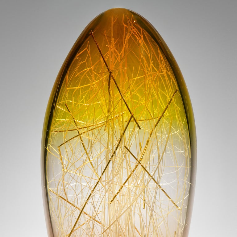 Organic Modern Ore in Amber and Coffee, a Unique glass Sculpture by Enemark & Thompson For Sale