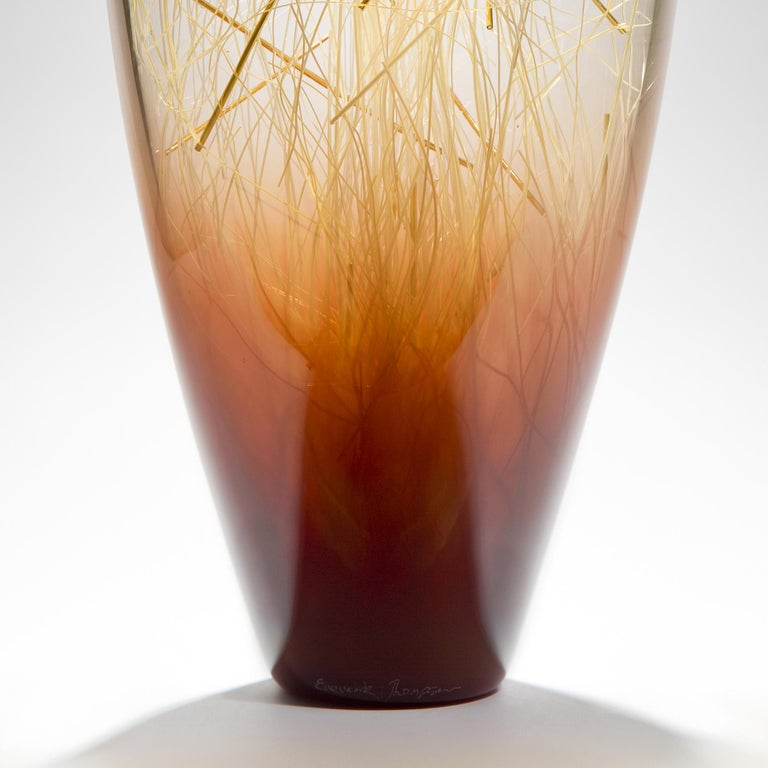 Hand-Crafted Ore in Amber and Coffee, a Unique glass Sculpture by Enemark & Thompson For Sale