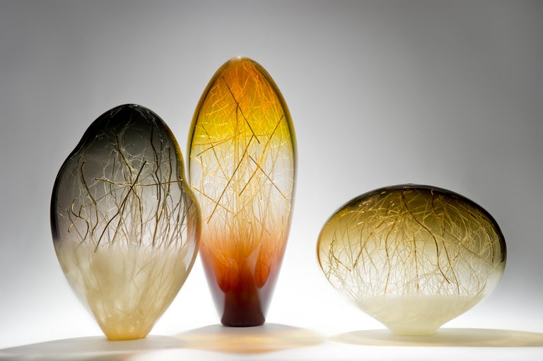 Ore in Amber and Coffee, a Unique glass Sculpture by Enemark & Thompson In New Condition For Sale In London, GB