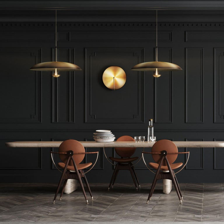 Ore Patinated Aged Brass Pendant Ceiling Light Gradient, Chandelier In New Condition For Sale In London, GB