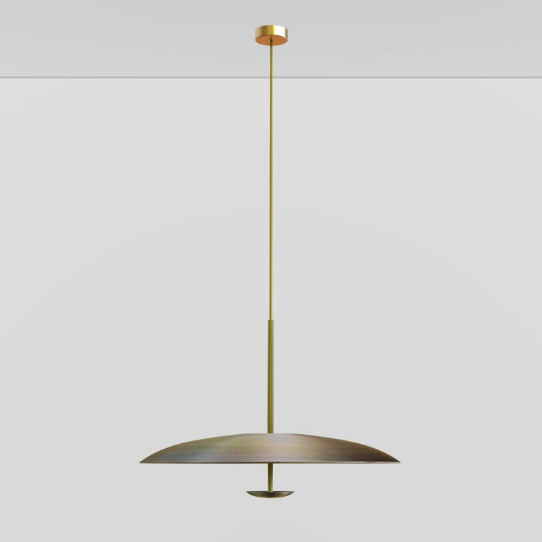 Ore Patinated Aged Brass Pendant Ceiling Light Gradient, Chandelier For Sale 2
