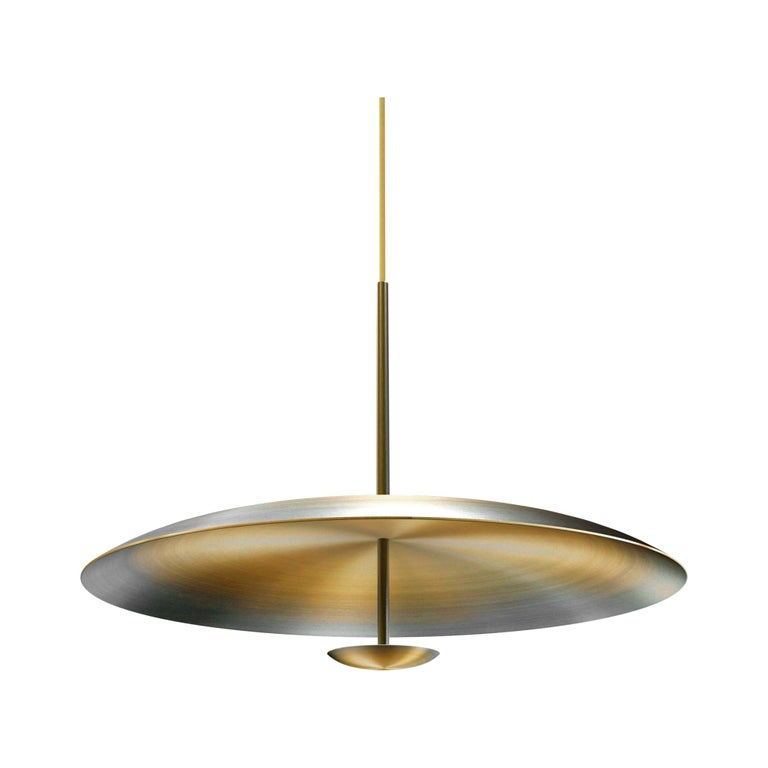 Ore Patinated Aged Brass Pendant Ceiling Light Gradient, Chandelier For Sale