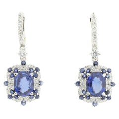Ice Blue Sapphire and White Diamond Drop Earrings in 18-Karat White Gold