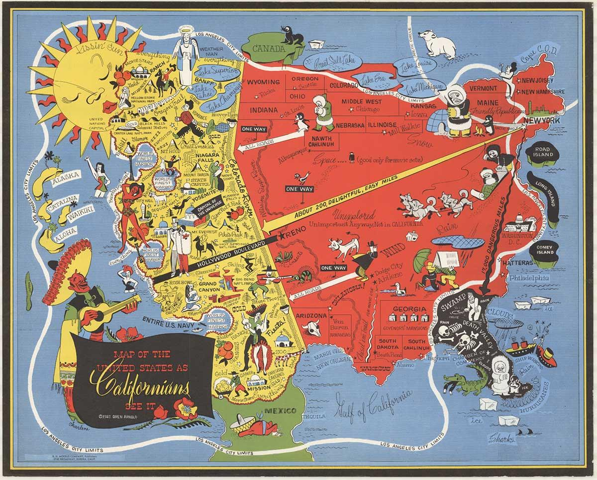 Map of the United States as Californians see it original small. format poster