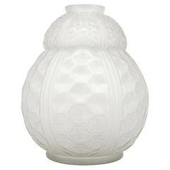 Oreot Large French Art Deco Glass Vase, 1920