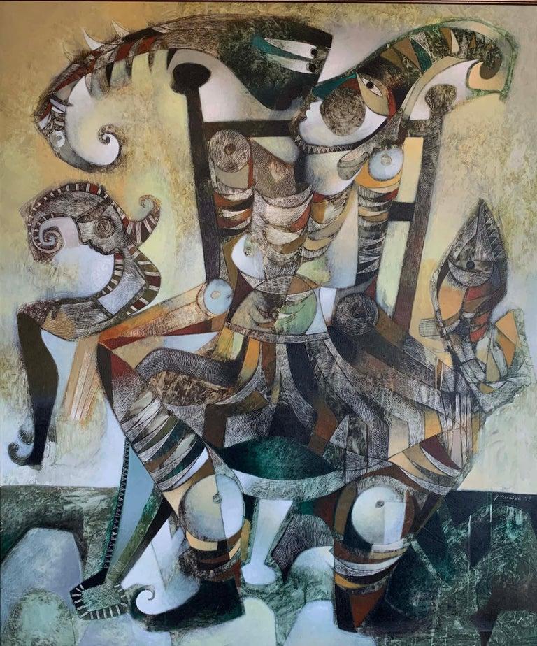 Orestes Gaulhiac Figurative Painting - OJOS PUESTO EN TODO