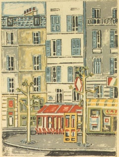 Paris, Coffee Bar - Original Lithograph by Orfeo Tamburi - 1980s