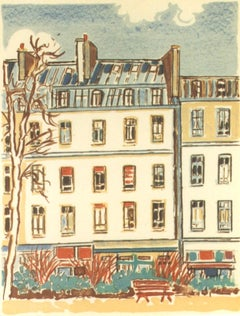 Paris, Houses and Tree - Original Lithograph by Orfeo Tamburi - 1980s