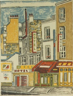 Paris, Houses and Walls - Original Lithograph by Orfeo Tamburi - 1980s