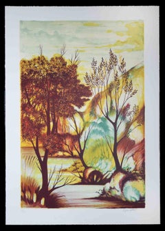 Autumn  - Original Etching by Orfeo Vitali  - 1970s