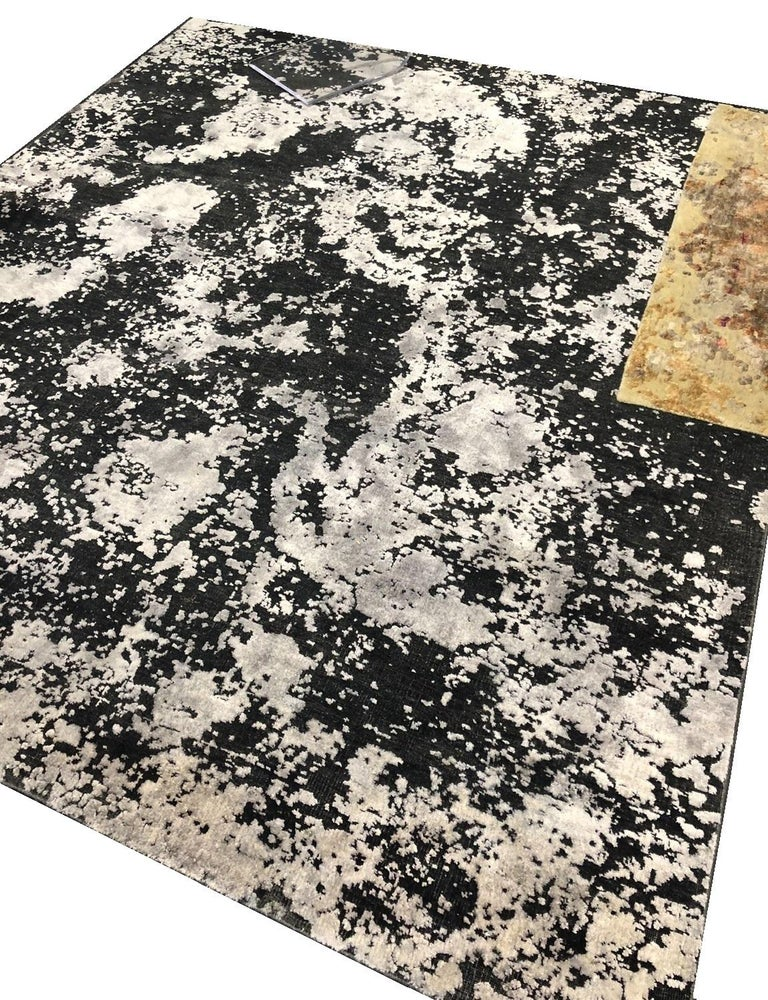 Indian Black Silver Organic Abstract Hand-knotted Wool and Silk Sustainable Rug 9'x12'  For Sale