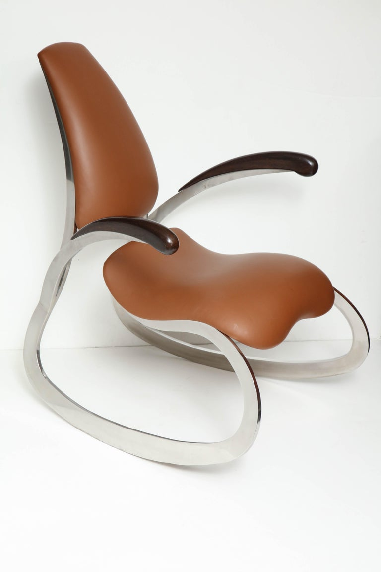 Mid-Century Modern Organic Body Rocking Chair with Dynamic Curving Steel Frames For Sale