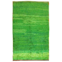 Organic Bright Green Minimalist Mid-20th Century Turkish Tulu Rug