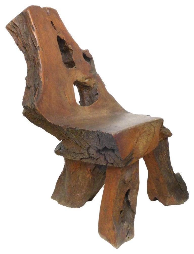 Organic Modern Organic Burl Redwood Chair For Sale